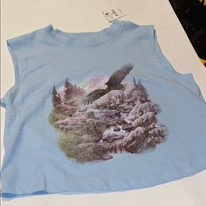 {NWT} Blue Cropped Eagle Print Muscle Tank Top